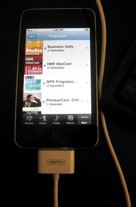 A few of the podcasts I listen to on my iPod